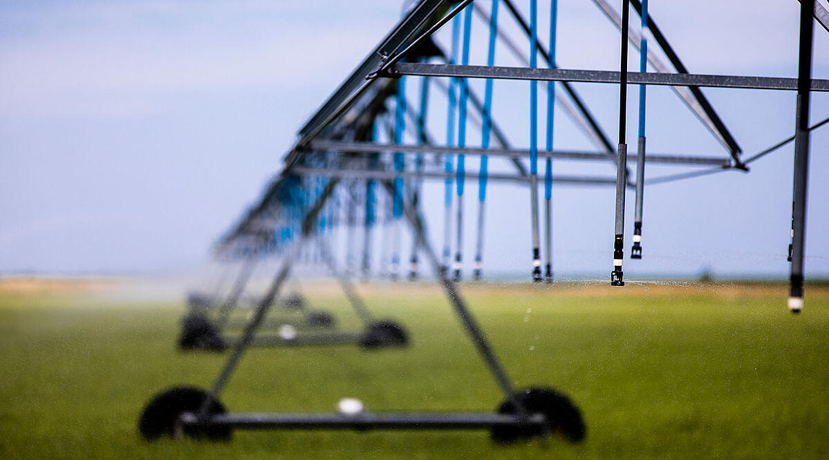Sprinklers hanging from a Valley Irrigation Center Pivot