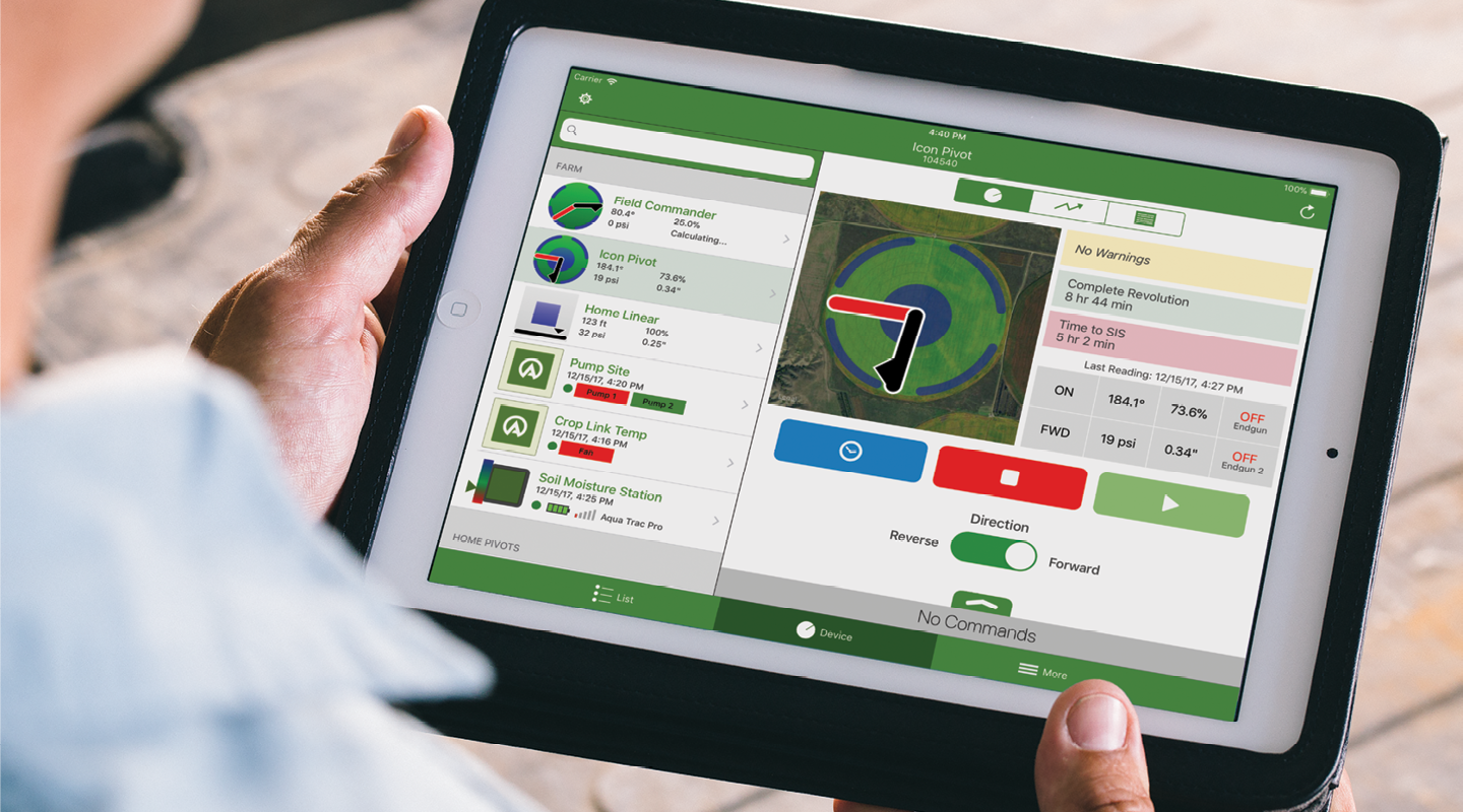 agsense on tablet - pivot control irrigation products