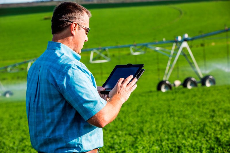 Farmer using smartphone to control his Irrigation Telemetry
